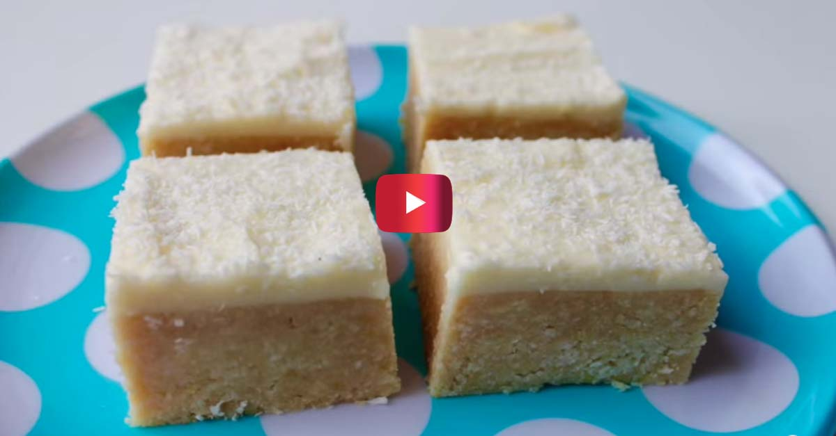 No-bake coconut lemon slices are the perfect summertreat